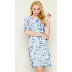 Antonio Melani White & Blue Lace Sheath Dress